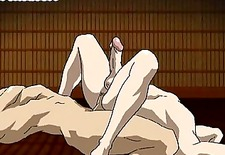 Cute hentai twink sits on a rock hard dick