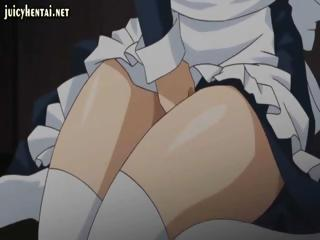 Anime maid with big tits is rubbing her tits and pussy and is watched