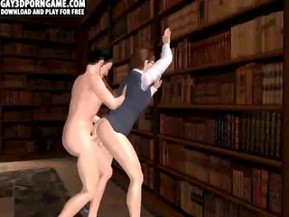 Horny 3D cartoon hunk gets fucked in the library