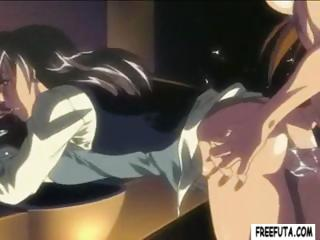 Hentai babe is bent over so shemale can bang her from behind