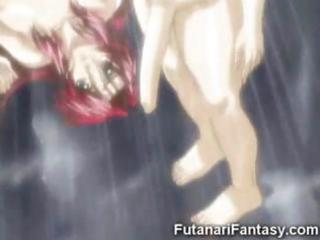 Horny hentai tranny destroying the faces and pussies of animated girls