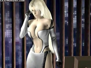 Sexy animated nymphet rubbing a dick
