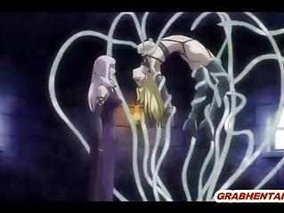Blonde hentai brutally drilled all hole by tentacles