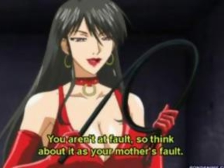 Bondaged Anime Woman with Big Boobs gets Chained and Whipped by her Own Boy