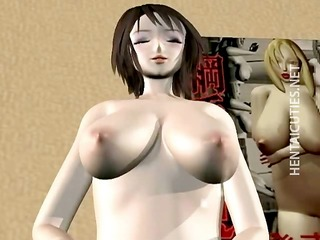 3D hentai bitch gives blowjob to a masked dude