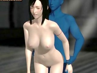 Animated babe gets pussy fucked by blue cock