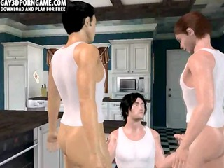 Three hot and horny 3D cartoon hunks getting it on