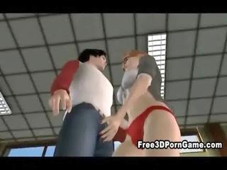 Sexy 3D cartoon tranny hottie sucking a hard cock